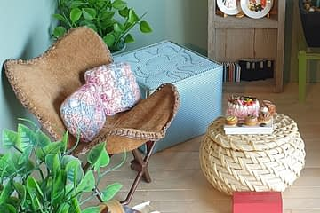 Scandi boho living room diorama