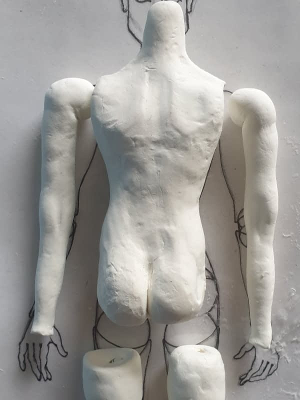 Male BJD body clay sculpt