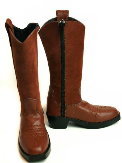 Dollzone S70-015B Brown Suede Western Boots