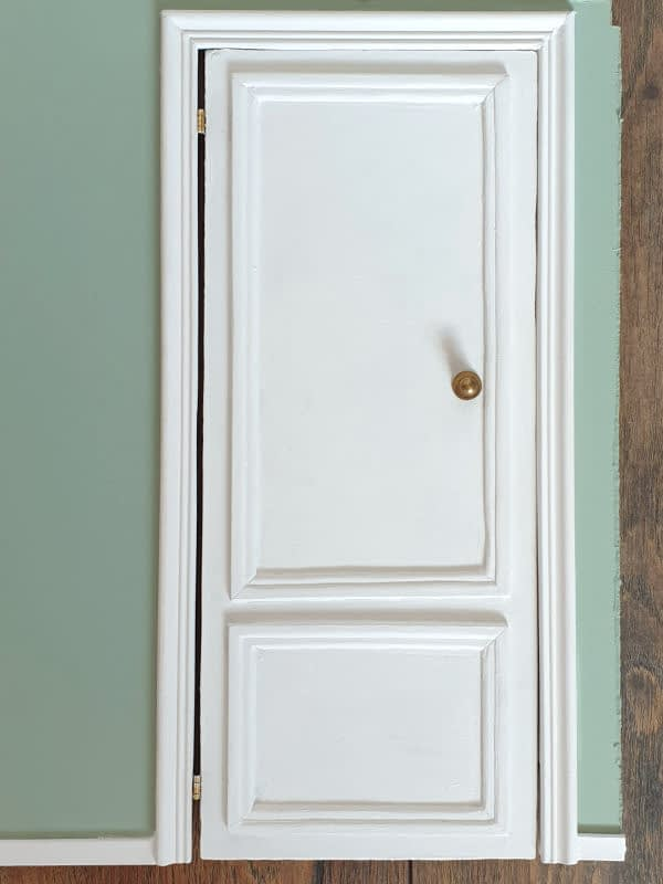 Diorama door painted chalk white